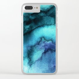 Abstract teal purple watercolor Clear iPhone Case