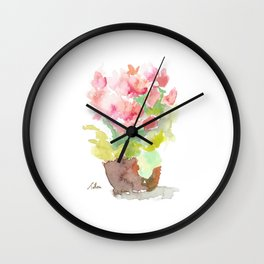 Watercolor Spring Flowers in a Clay Pot Wall Clock