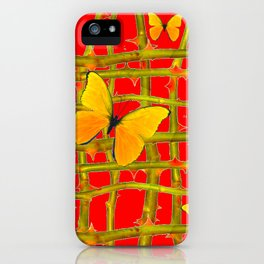 YELLOW BUTTERFLIES & RED THORN LATTICE iPhone Case