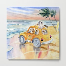 Dogs Family at the beach Metal Print