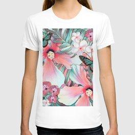 Peachy Mint Hibiscus Tropical T-shirt