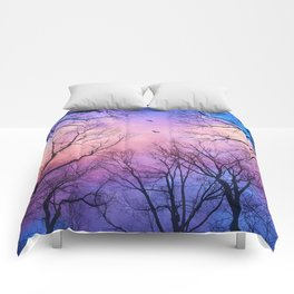 A New Day Will Dawn  (Day Tree Silhouettes) Comforters