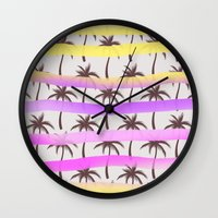 palm trees Wall Clocks featuring Palm Trees by Ornaart