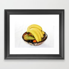 Fruit in a Wooden Bowl, Banana, orange, Pear, Plum Framed Art Print