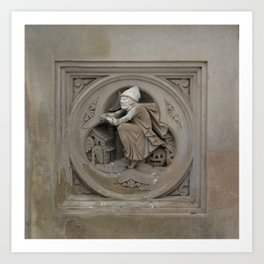 Halloween Witch on Broom 3d Stone Carving Photo Art Print