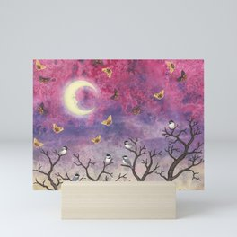 chickadees and io moths in the moonlit sky Mini Art Print
