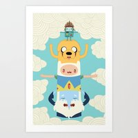 totem Art Prints featuring Adventure Totem by Daniel Mackey