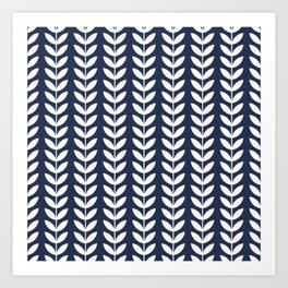 Navy Blue and White Scandinavian leaves pattern Art Print