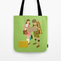 moonrise kingdom Tote Bags featuring moonrise kingdom by Live It Up
