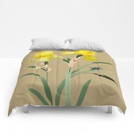 Yellow Iris and Cricket Comforters