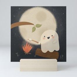 Camping Ghost Toasting Marshmallows in Moonlight Mini Art Print