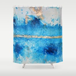 Rainy Day: a pretty minimal abstract mixed media piece in blue & gold by Alyssa Hamilton Art Shower Curtain
