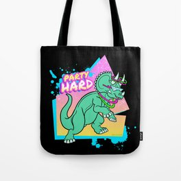 Party Hard Dinosaur II - Triceratops with glowsticks Tote Bag