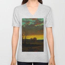 Twilight in the Wilderness landscape painting Unisex V-Neck