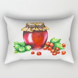 Red Currant and Gooseberry Jam Jar. Watercolour painting. Rectangular Pillow