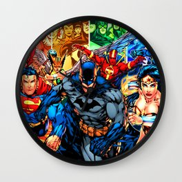a collection of heroes Wall Clock