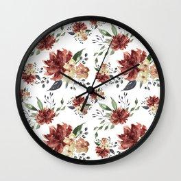 Watercolor Burgundy Wall Clock