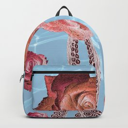 Octopus Tentacles and Roses in Water Surreal Print Backpack