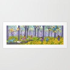 Kites and Daffodils Art Print