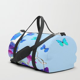 BLUE BUTTERFLIES & PURPLE MORNING GLORIES Duffle Bag