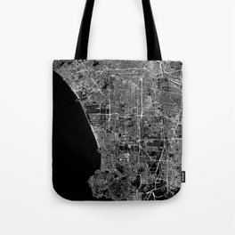 Los Angeles Black Map Tote Bag