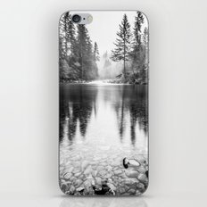 Forest Reflection Lake - Black and White Nature Water Reflection iPhone & iPod Skin