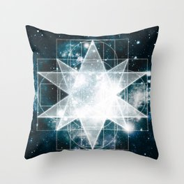 Sacred Geometry : Teal Galaxy Throw Pillow