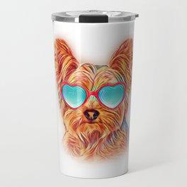 Yorkshire Terrier Colorful Yorkie Neon Dog Sunglasses Travel Mug
