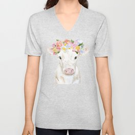 White Calf with Floral Crown Unisex V-Neck