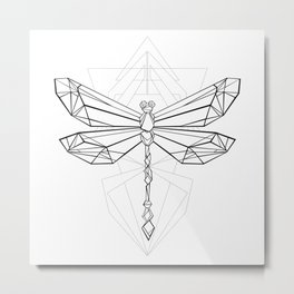 Polygonal Dragonfly Metal Print