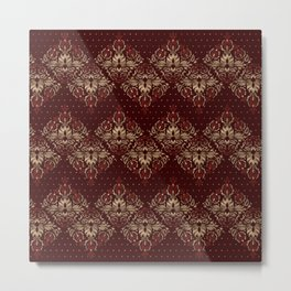 Persian Oriental pattern deep red and gold Metal Print