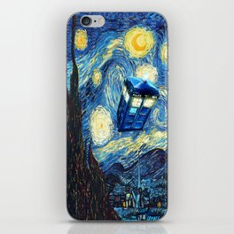 Soaring Tardis doctor who starry night oil painting iPhone Skin