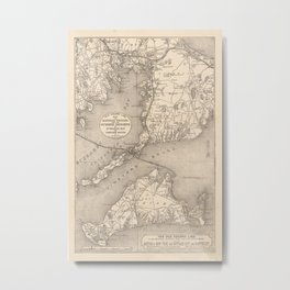 Vintage Cape Cod Old Colony Line Map (1888) Metal Print