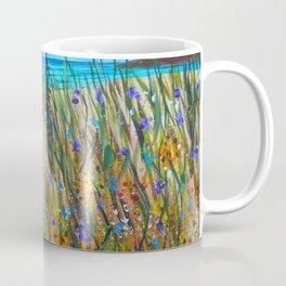 Beach flowers, impressionism ocean art, wildflowers on the beach Coffee Mug