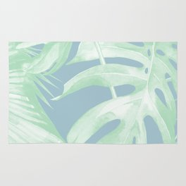 Tropical Leaves Luxe Pastel Sea Turquoise Blue Green Rug