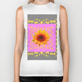 Grey Pink Red Golden Sunflowers Yellow Pattern Art Biker Tank