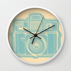 I Still Shoot Film Holga Logo - Reversed Turquoise/Tan Wall Clock