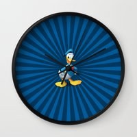 donald duck Wall Clocks featuring Donald - The Duck by applerture