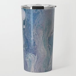 Purple, Blue, and White Abstract Fluid Acrylic Painting 2 Travel Mug