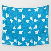 plane Wall Tapestries featuring Paper Plane by Patrick Zedouard c0y0te7