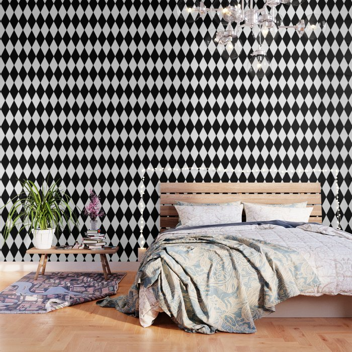 Large Black And White Harlequin Diamond Pattern Wallpaper By Cradoxcreative Society6