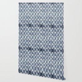 Braided Diamond Indigo Blue on Lunar Gray Wallpaper
