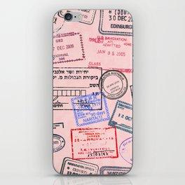 Worldly Traveler - Passport Pattern - Rose Pink iPhone Skin