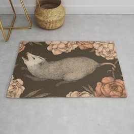 The Opossum and Peonies Rug