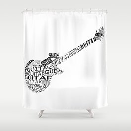 Guitar In Text Shower Curtain