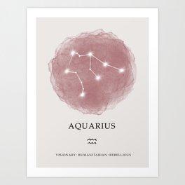 Aquarius Zodiac Sign Blush Pink  Art Print