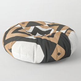 Modern Wood Art, Black and White Chevron Pattern Floor Pillow