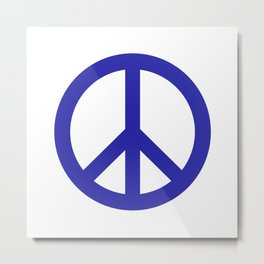Peace (Navy Blue & White) Metal Print