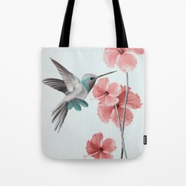 Hummingbird with Hibiscus Tote Bag