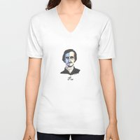 poe V-neck T-shirts featuring Poe by Mark B Hill Art
